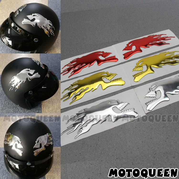 3d Chrom Ghost Schädel Kopf Motorrad Lkw Helm Tank Pad Aufkleber Flamme Schädel Decals Für Haley Honda Yamaha Kawasaki Suzuki