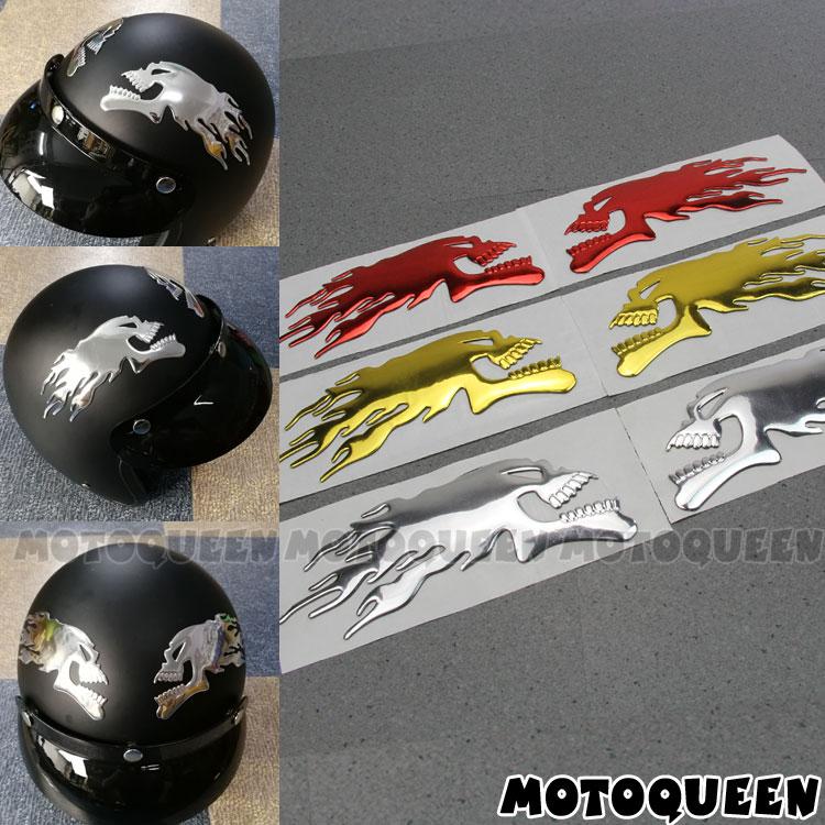 Tête de crâne, fantôme, 3D, chromé, pour casque de moto, tampon de réservoir, décalcomanies, flamme pour Haley Honda Yamaha Kawasaki Suzuki