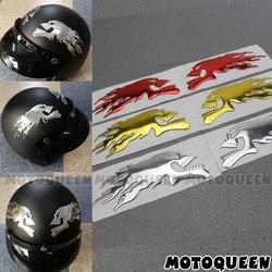 3D Chrome Ghost Skull Head Motorcycle Truck Helmet Tank Pad Stickers Flame skulls Decals For Haley Honda Yamaha Kawasaki Suzuki
