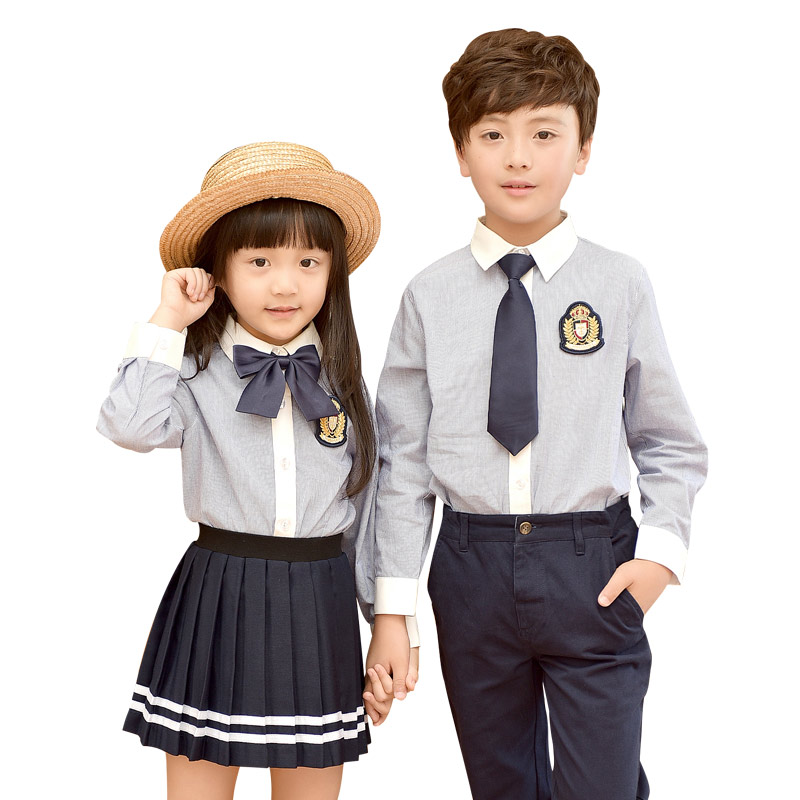 Children Cotton British Korean Student School Uniforms Set Suit For Girls Boys Casual Shirts Skirt Pants Tie Clothes Sets 2-10T