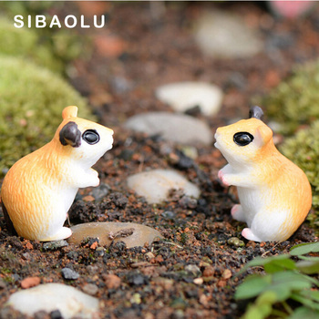 2pc Hamster Figurine Miniature Decoration for mini fairy garden animal statue Similation resin craft Home Car Decoration 1