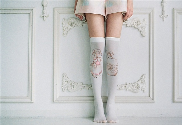Princesa meias lolita doce Mori menina original mão-pintado garrafa de super adorável coelho vento retro impressão meias CTW001
