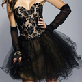 Preto curto vestidos de formatura Backless querida Tulle vestido de baile Custom made 2016 vestidos de baile F233