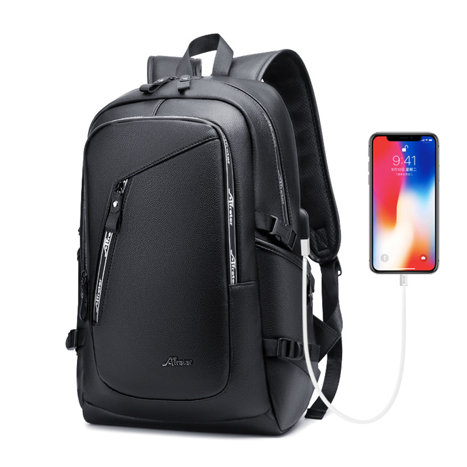 Laptop Leather Backpack Mens 15.6 Inch Notebook Men Bag Pack Waterproof USB Charging Male Bagpack Black Smart Fashion Man Bags