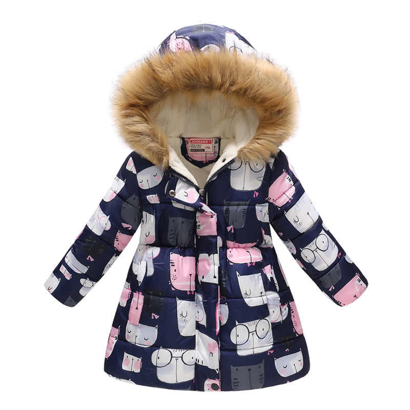 2019 ホットガールズロング印刷暖かい綿ジャケット子供の毛皮の襟フード付き雪上着コートキッズ屋外防風ジャケット