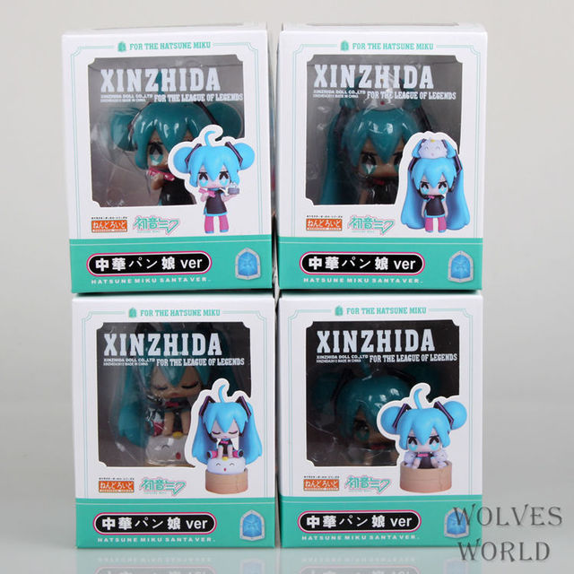 4pcs/set Hatsune Miku Anime steamed bread Collectible Action Figure PVC toys for christmas gift with retail box free shipping