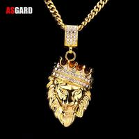 ASGARD Men Hip Hop Jewelry Iced Out Gold Fashion Bling Lion Head Pendant Men Necklace Gold