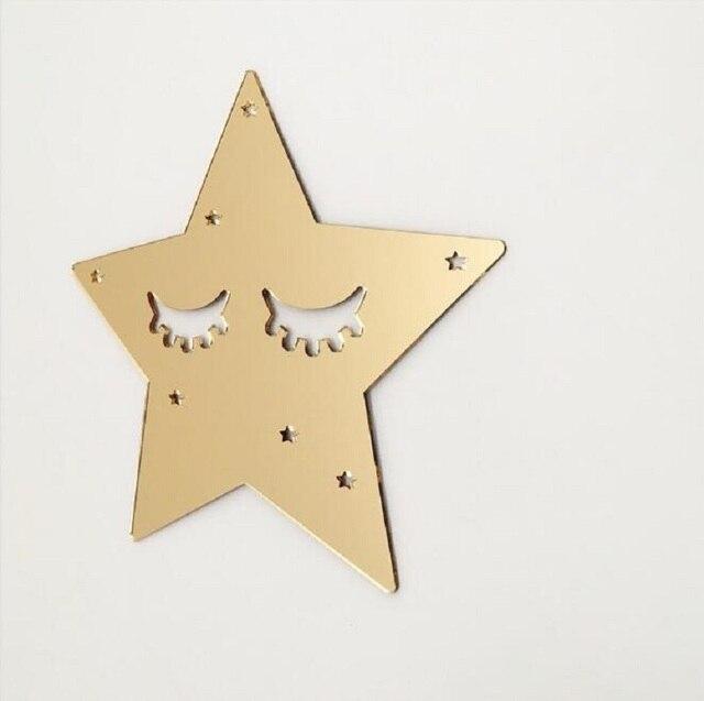 Mirror Surface Wall Stickers Children S Room Decorated Golden Acrylic Eyelash Stars Sleepy Eyes Home