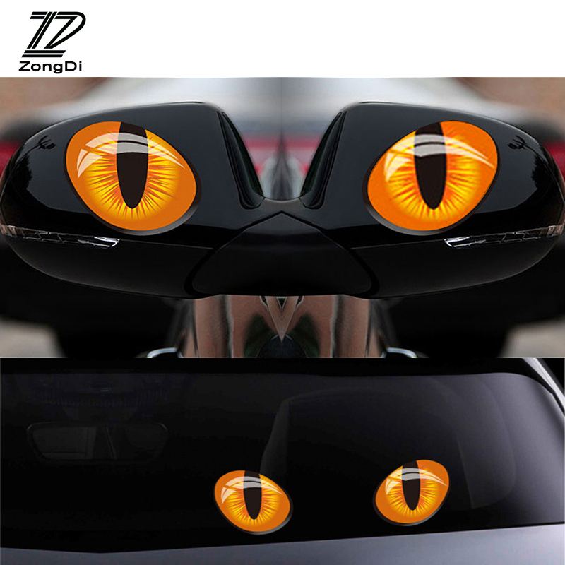 ZD 2X 3D Cat Eyes Car <font><b>Stickers</b></font> Truck Head Rearview Mirror Window <font><b>stickers</b></font> for Fiat VW Polo <font><b>Golf</b></font> MK4 <font><b>4</b></font> MK7 Touran T5 Bora Skoda image
