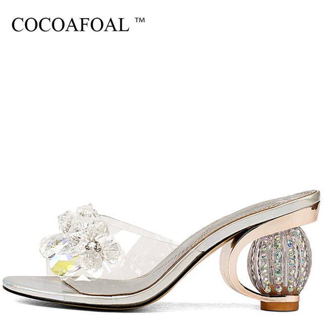 e3cfd5d03e US $29.5 50% OFF|COCOAFOAL Women's Transparent Slides New Summer Silvery  High Heels Shoes Sandbeach Open Toe Hollow Silvery Crystal Slides 2018-in  ...