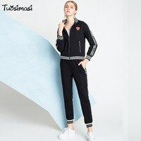 2018 весна осень Зимний спортивный костюм для женщин черный полный рукав куртки Топы и повседневные штаны комплект костюм (UL220)