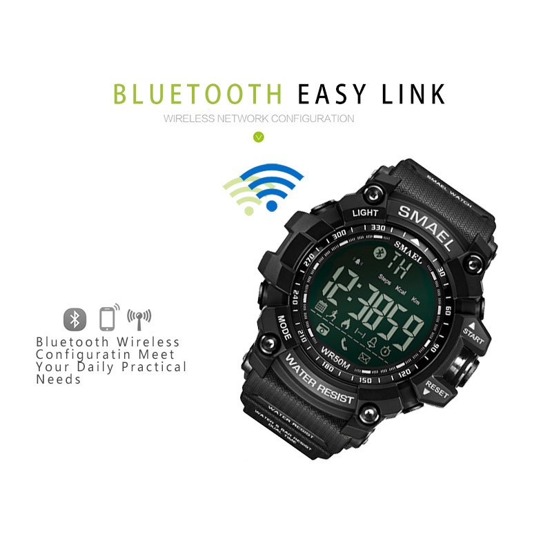 SMAEL Mens Chronograph Watches Sport Male Clock Stop Army Military Watch Men Multifunction Waterproof LED Digital Watch for Man 4