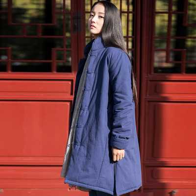 Winter Chinese Style Stand Collar Maxi Parkas Overcoat Vintage Single Breasted Long Warm Thicken Cotton Padded Parka Coat A3873 цены онлайн