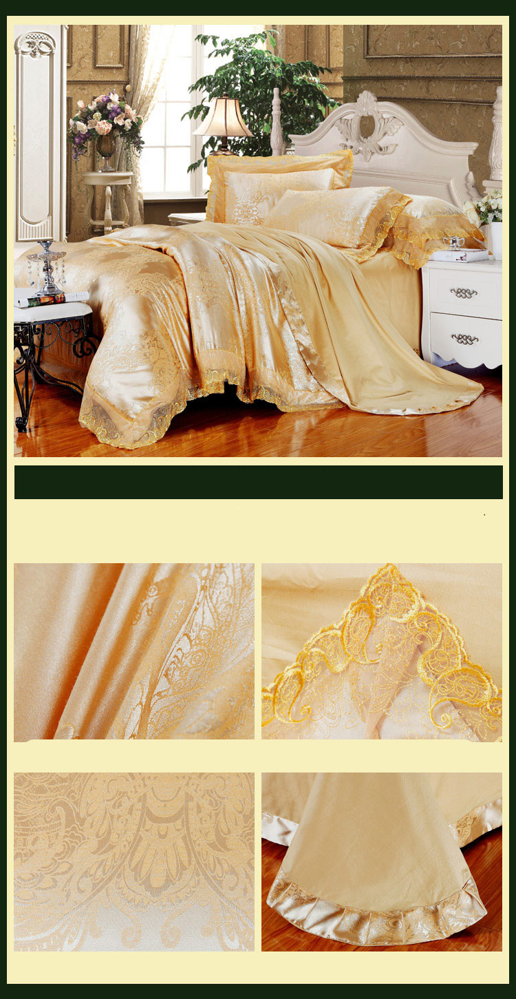 New Luxury Embroidery Tinsel Satin Silk Jacquard Bedding Set, Queen, King Size, 4pcs/6pcs 36