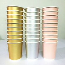 Free Shipping 150pcs Foil Gold Paper Cup Modern Metallic Silver Pink Cups for Baby Shower wedding Birthday Party