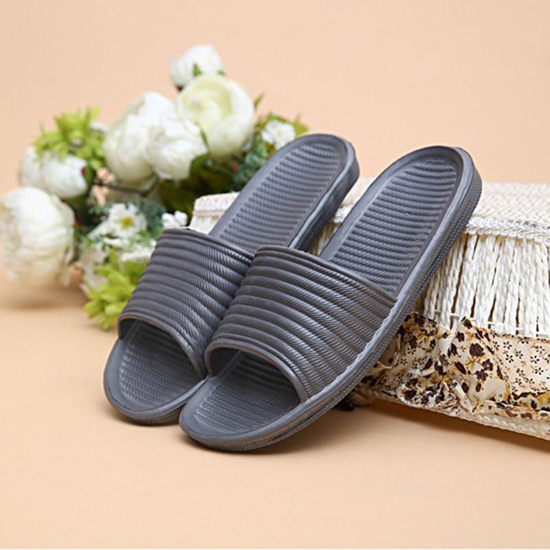 Summer Men Slippers Comfort Bathroom Bedroom Sandals Stripe Antiskid Flats Slippers Male Indoor Outdoor Massage Shoes