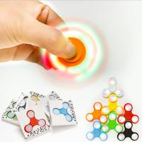 100PCS/Lot Hand Fidget Spinner Glow in the Dark DHL Lot Light up Led Luminuex Finger Spiners Blue Yellow Red Glowing Spinner Toy