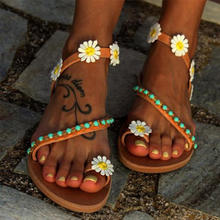 Women Sandals Sweet Flowers Beach Sandals Daisy Holiday Summer Shoes Woman Comfortable Flat Sandals Women Casual Flip Flops Plus(China)