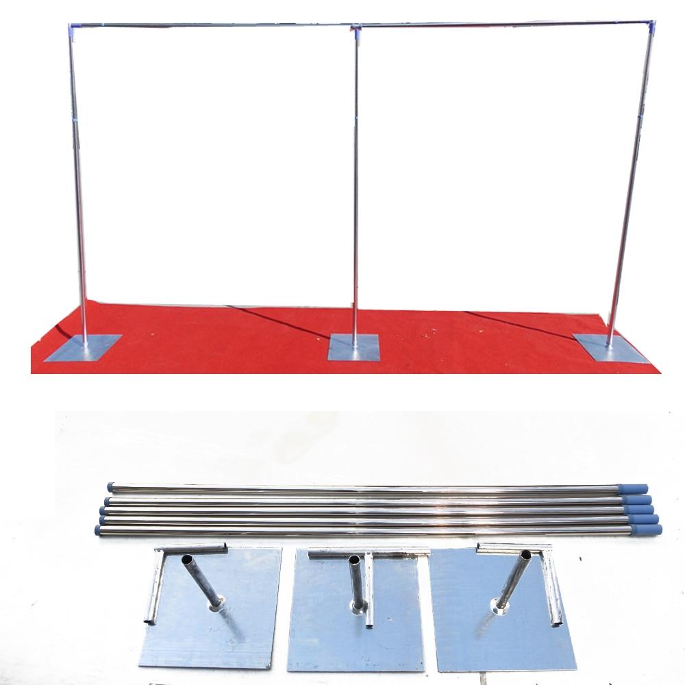 3 м x 6 м стент Рамки Регулируемый трубы простыня Нержавеющаясталь Свадебный Шторы фоне выделяются трубы База с выдвижной полюс