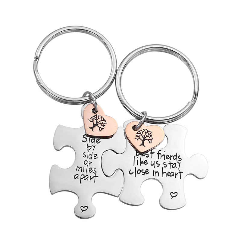 2 unids/set de rompecabezas de acero inoxidable pareja llavero con corazón grabado amistad cadenas llavero regalo personalizado