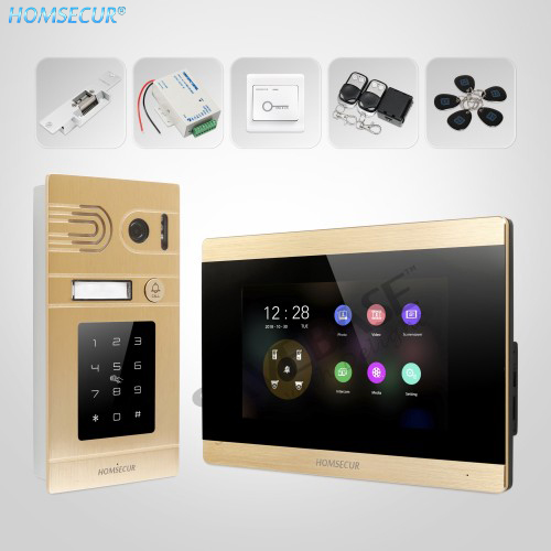 HOMSECUR 4 Wire Hands-free AHD Video&Audio Home Intercom With Outdoor Monitoring BC071HD-G+BM715HD-G