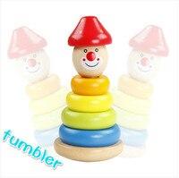 Duża Tęczowa Wieża Układania Bloków Rozwój Drewniane Zabawki Pierścień Clown Suszarka Prezent Dla Dzieci Darmowe Zakupy