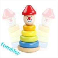 Große Rainbow Tower Stacking Blocks Entwicklung Von Holzspielzeug Ring Clown Tumbler Geschenk Für Kinder Freies Einkaufen