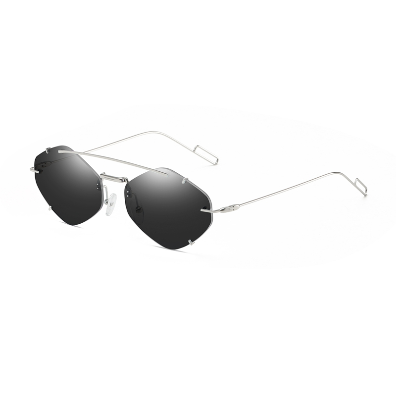 Frameless Sunglasses Men And Women Retro Geometric Shape Lens Metal Sunshade