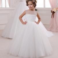 Appliques Sleeveless Holy Communion Infant Girls Dresses Kids Cream Floor Length Elegant Tulle Ball Gowns 0