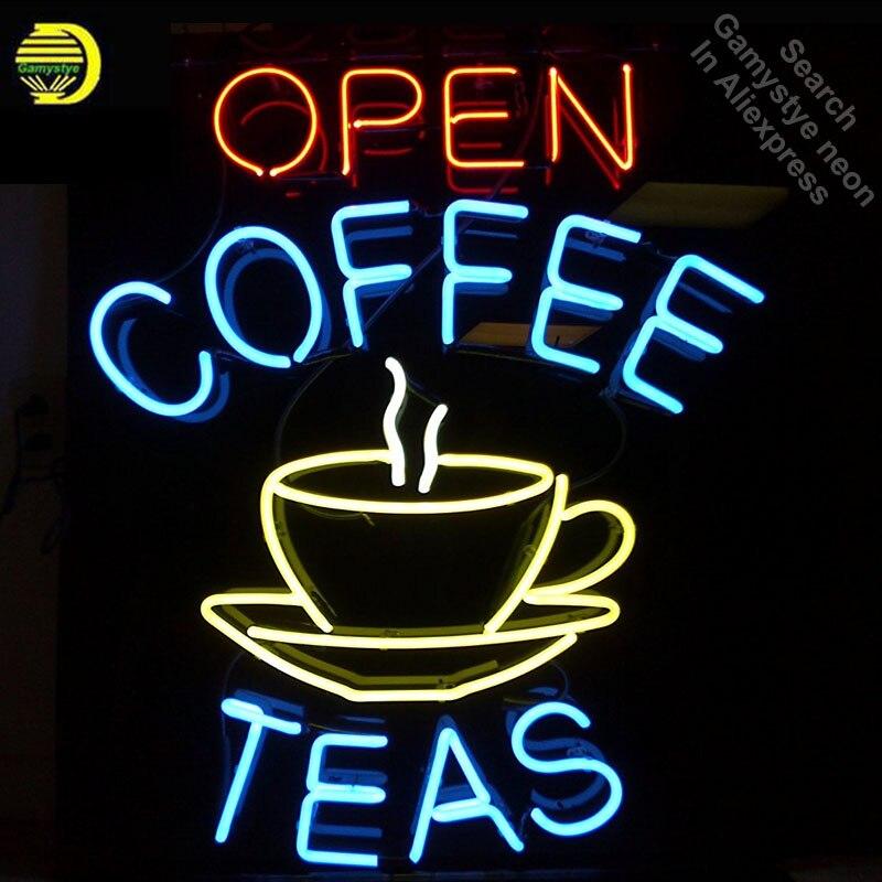 "New Coffee Shop Open Tea Logo Neon Light Sign 17/""x14/"""