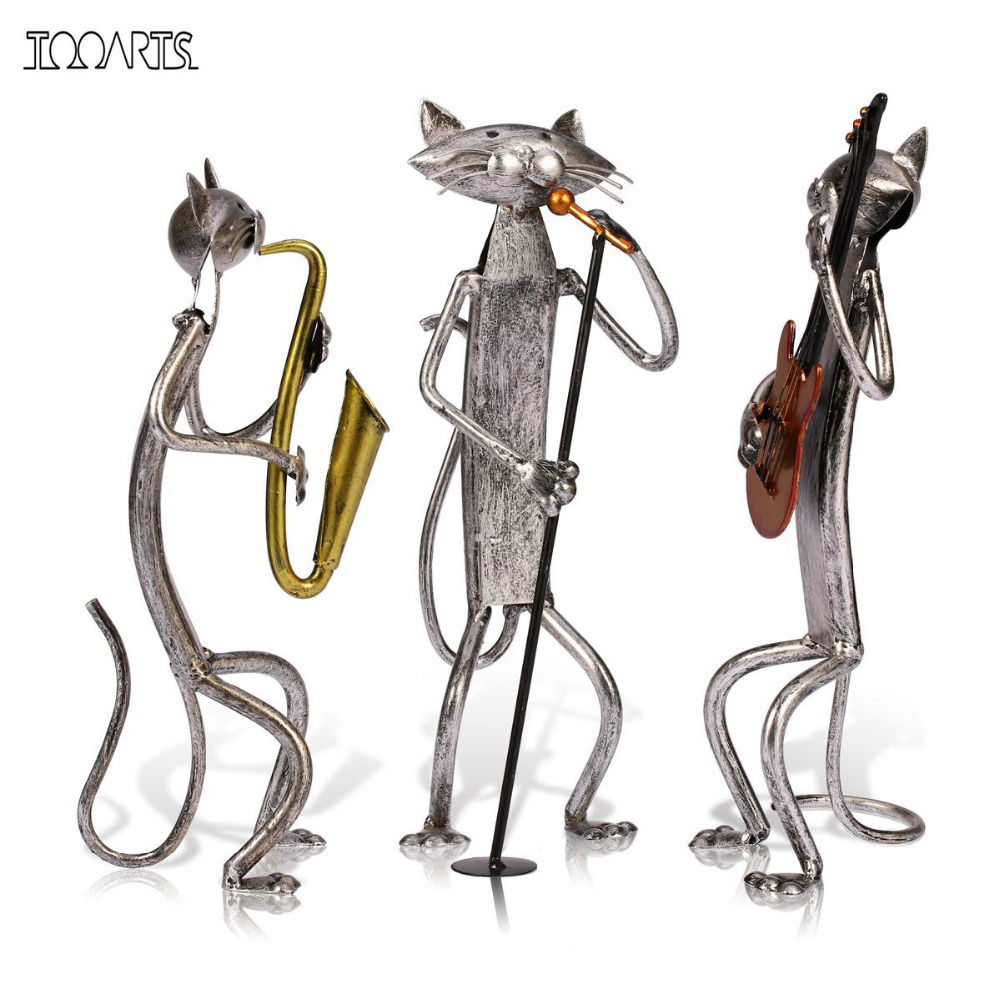 Tooarts Metal Sculpture A Playing Guitar/Saxophone/Singing
