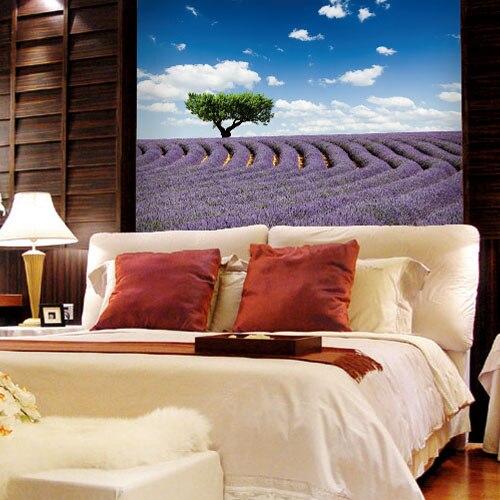 Custom 3d mural Living room wallpaper decoration background sky blue lavender landscape mural TV wall background wallpaper