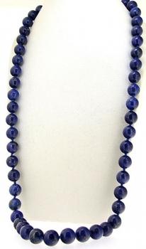 24 #8222 długi pojedynczy wiązane naszyjnik okrągły 8mm niebieski Lapis Lazuli półszlachetny kamień koralik urok tanie i dobre opinie monroe m N0121045959 Naszyjniki typu choker Kobiety Wygięty łańcuszek singapurski STAINLESS STEEL ROUND 42-50cm TRENDY