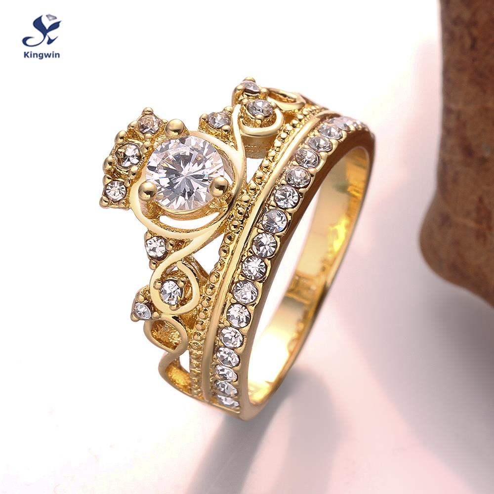 Kingwin new design crown ring for women cz Pure Gold Color queen ...