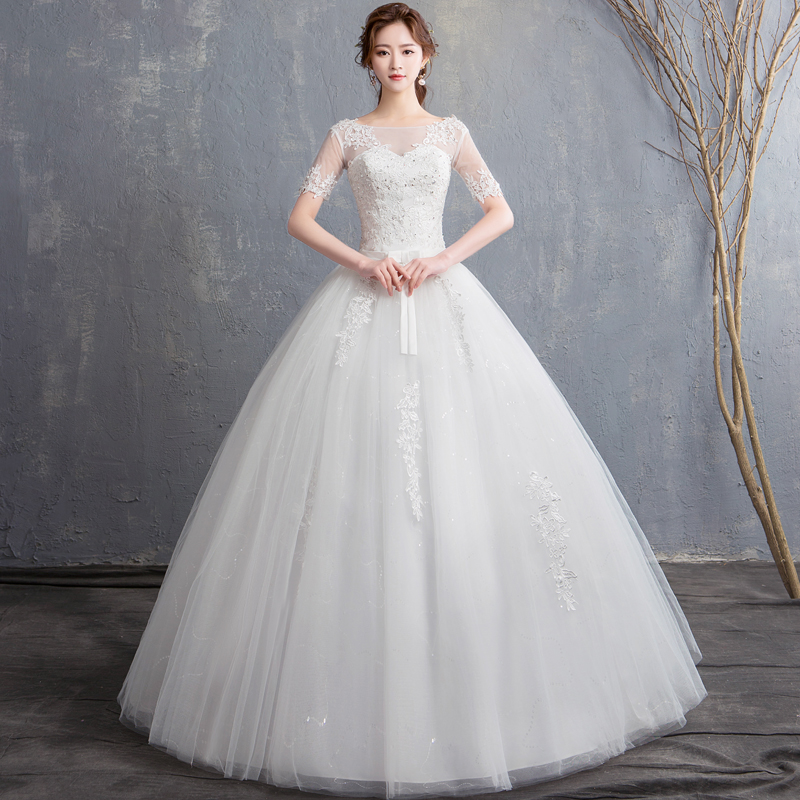 Do Dower 2019 New Vintage Wedding Dress Short Sleeve Elegant O Neck Lace Princess Wedding Dresses Lace Up Slim Wedding Dress L