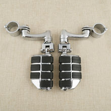 Motorcycle Universal 1 1/4 32MM Chrome Highway Long Footpeg Footrest Mount For Harley Honda