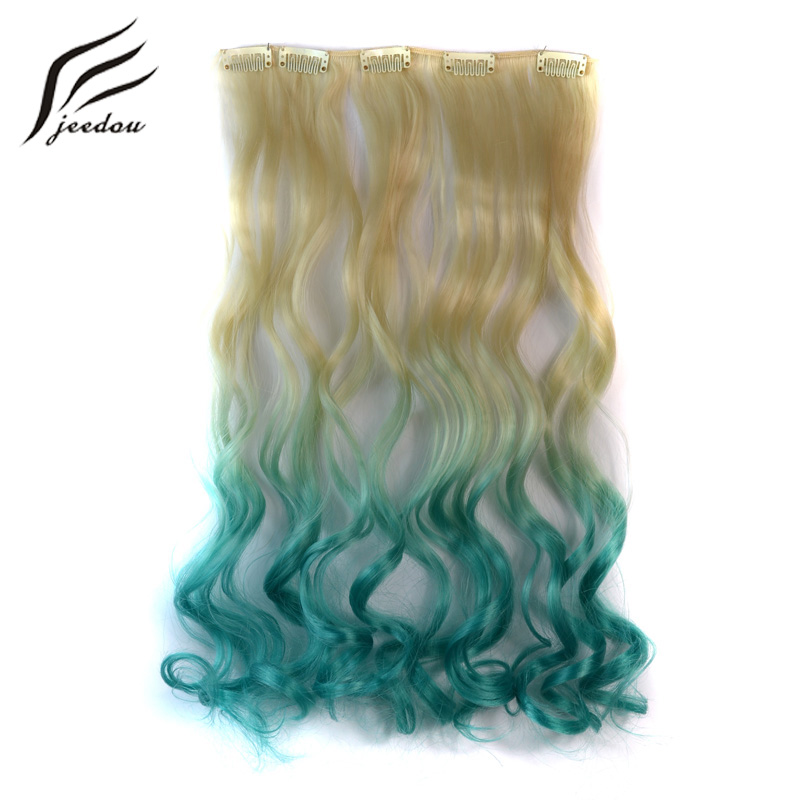 Jeedou Wavy Synthetic Hair Clip In 5Clips Hair Extension 18
