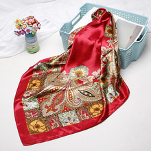 Aztec Style Shawl Scarf Women Fashion Square Hijab Bandana Kerchief Flower Floral Print Head Neck Red Headband Turban 90x90cm
