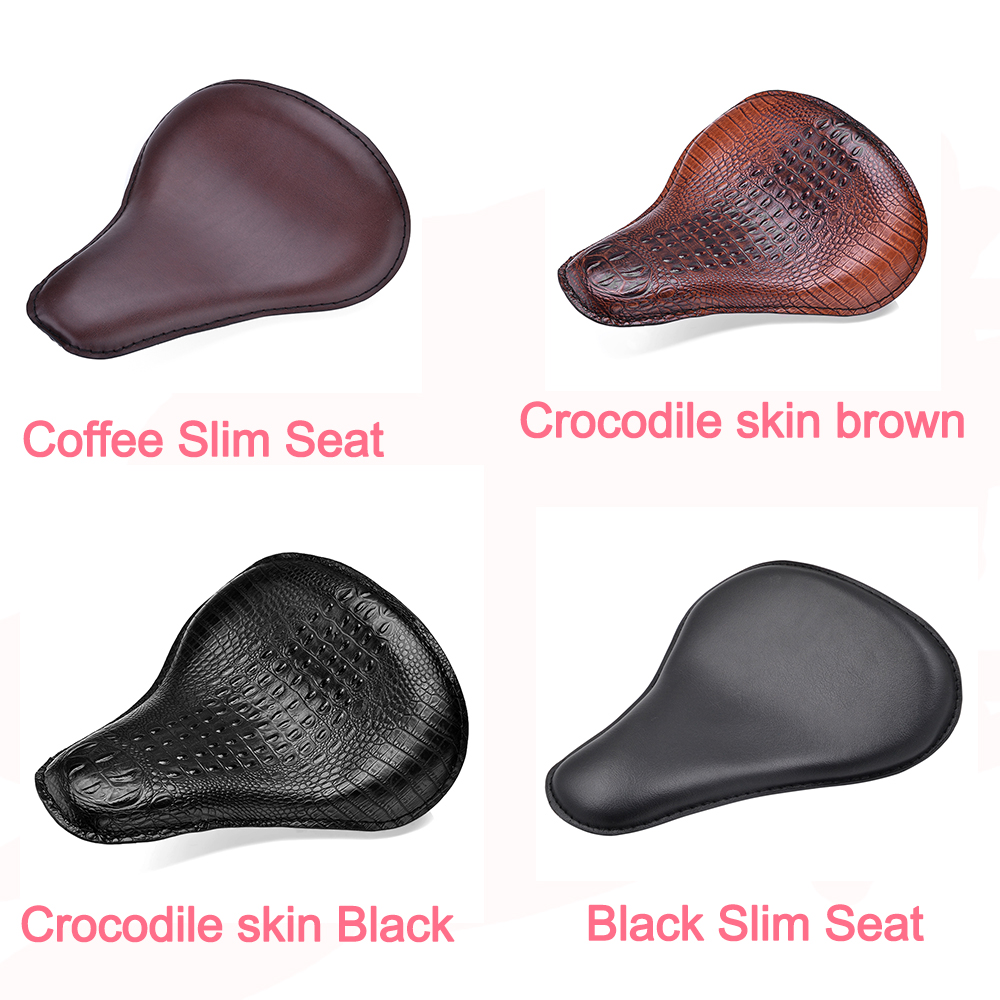 Bjmoto Custom Synthetic Leather Solo Slim Seat For Harley Sportster Bobber Chopper Motorcycle Bike Seat