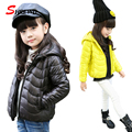 Winter Jacket For Girls 2017 New Fashion Hooded Solid Kids Coats Jackets Zipper Long Sleeve Simple Kids Clothes Girls 6433W
