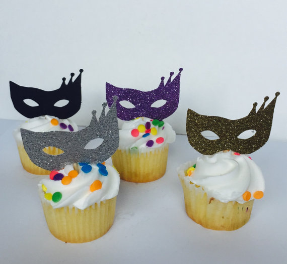 masquerade carnival mardi gars glitter cupcake toppers wedding party bridal shower baby shower birthday food picks in cake decorating supplies from home