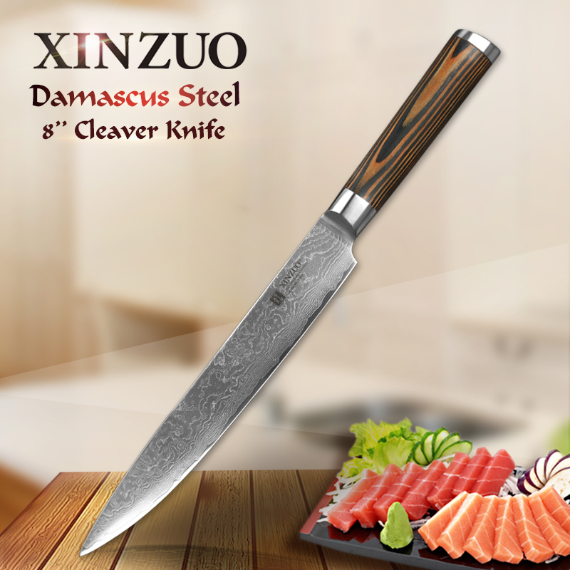 "XINZUO 8 ""inch Sushi Knife 73 Lapisan Damascus Kitchen Knives Japanese Steel VG10 Cleaver Sashimi Knife dengan Pakka Wood Handle"