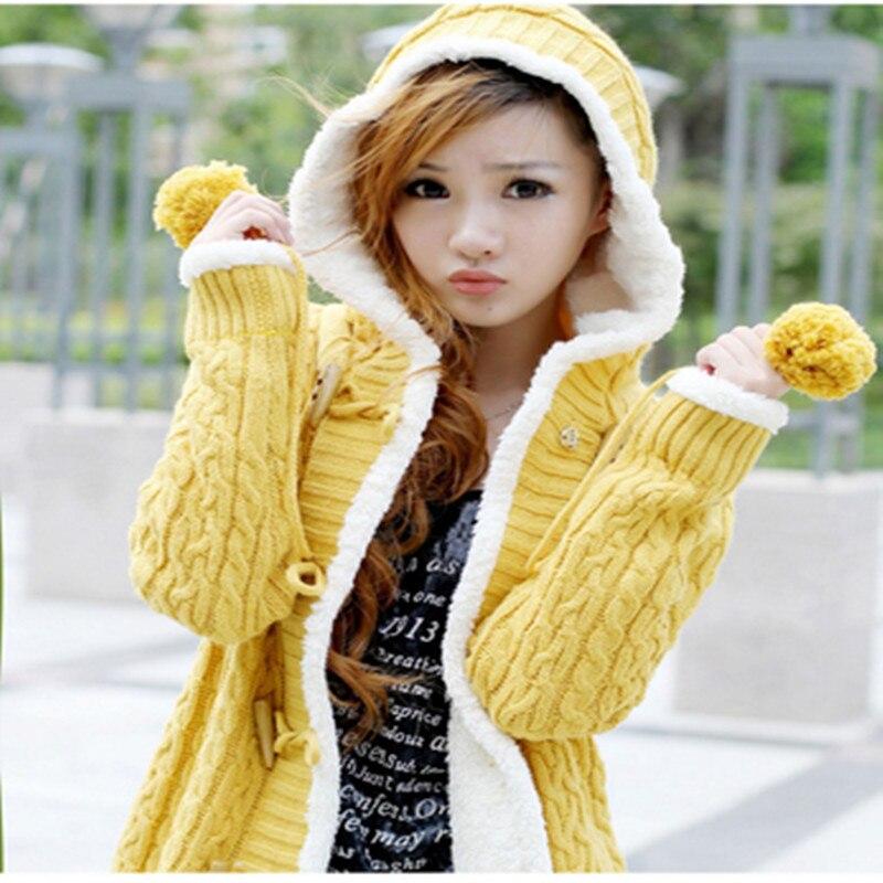 2019Autumn Winter Clothing Sweater Cardigan Coat Female Korean Loose Medium Long Hooded Plus Velvet Thick Warm Women Knit Jacket
