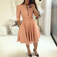 2019 Summer Women Fashion Elegant A Line Tunic Party Dress Female O Neck Colorful Solid Zipper Up Belted Pleated Casual Dress