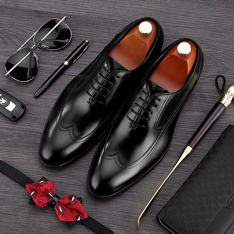 British Style Handmade Man Formal Dress Shoes Genuine Leather Wedding Oxfords Pointed Toe Men's Wedding Party Bridal Flats NE15 mens genuine leather pointed toe buckle leather shoes crocodile print oxfords business man wedding shoes formal dress shoes