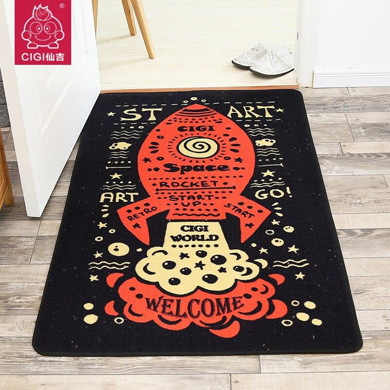 CIGI Black Creative Modern Carpet Bedroom Living Room Cushion Floor Blanket Mats Entrance Doormats Kitchen Toilet Anti Skid Mat