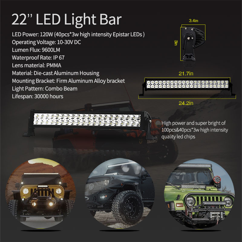 Led Work Headlight Bar 3 22 52'' Daytime Running Driving 24W 120W 300W Bars Mount Bracket Bull Holder for Jeep Wrangler JK 12V