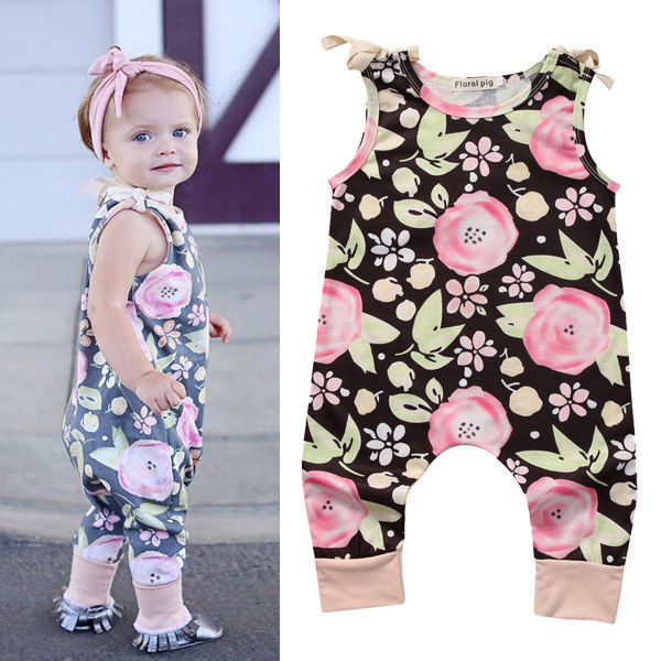 Toddler Kids Baby Girls Clothing Summer Strap Romper Flower Cute Jumpsuit Floral Pants Clothes Baby Girl Outfit fashion 2pcs set newborn baby girls jumpsuit toddler girls flower pattern outfit clothes romper bodysuit pants