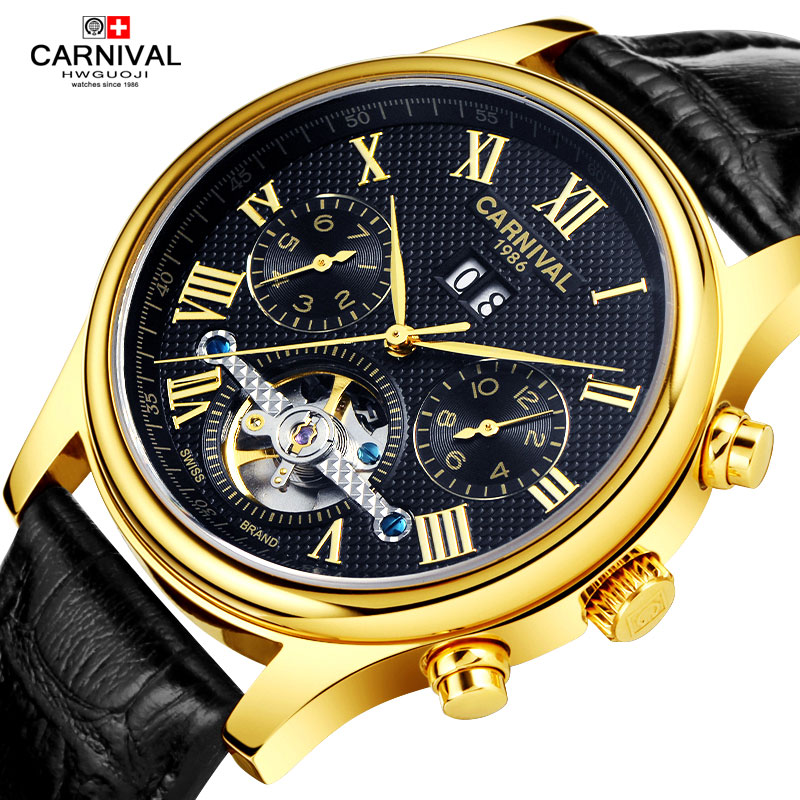 Carnival Watch Men tourbillon Automatic Mechanical Luminous Stainless Steel Waterproof multifunction Leather Roman Dial Watches new carnival tourbillon hot automatic mechanical brand watches fashion waterproof luminous men s full steel watch leather strap