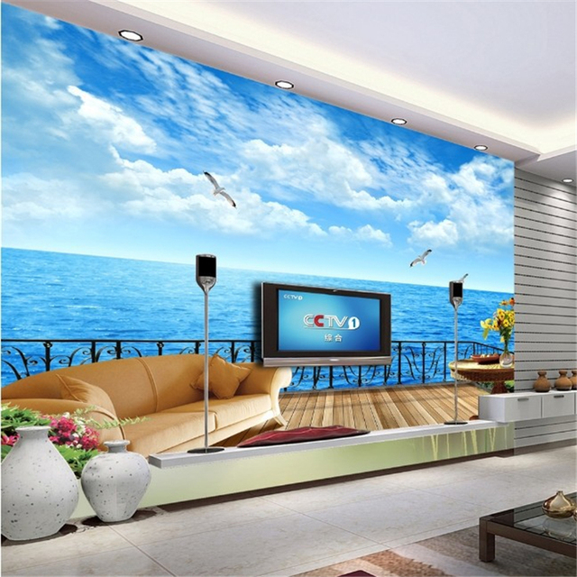 Beibehang vista mare mediterraneo tridimensionale carta da - Carta da parati soggiorno ...